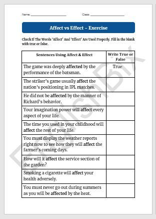 Affect vs Effect   Worksheet To Test If You Know Their ...