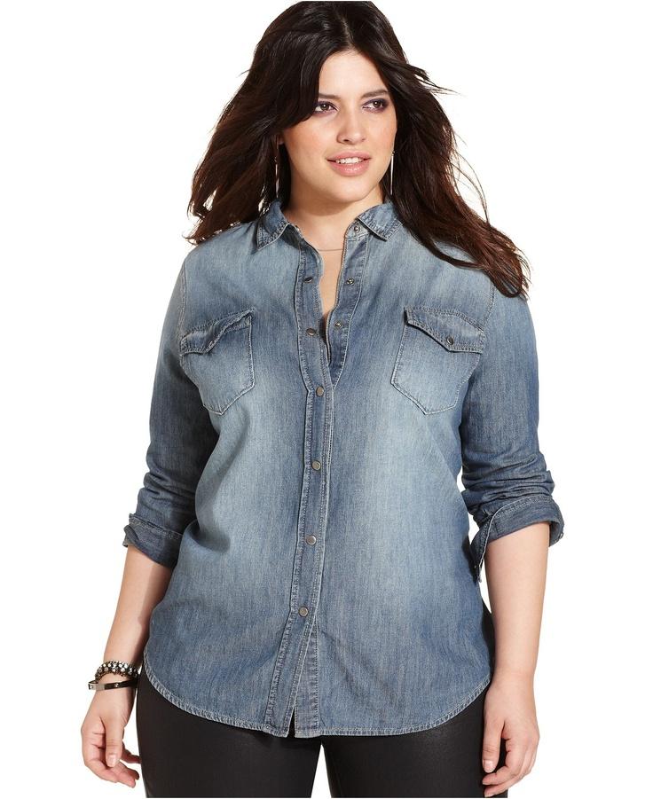 Jessica Simpson Plus Size Top, Long-Sleeve Denim Shirt - Junior Plus Size - Plus Sizes - Macy's