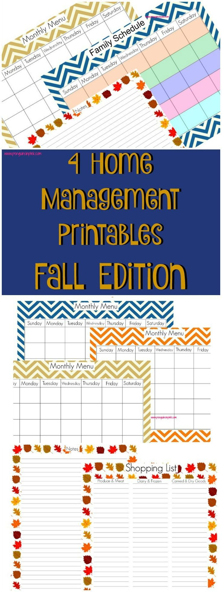 Monthly menu, shopping list, family schedule, and notes home management printables fall themed in navy, orange, and wheat chevron and leaves to keep your house organized this fall.