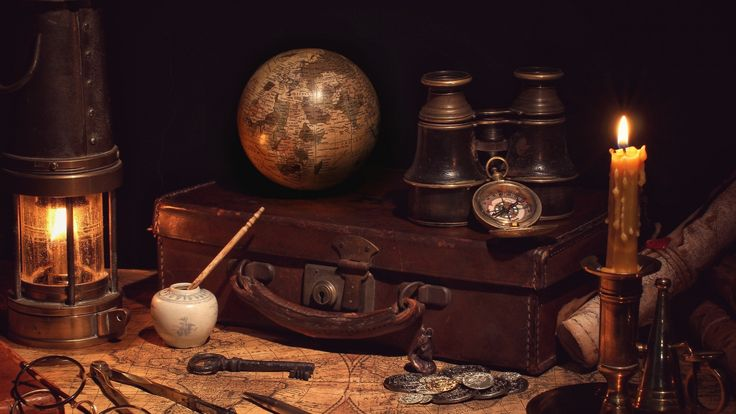 Скачать обои ретро, глобус, циркуль, путешествие, монеты, чемодан, бинокль, натюрморт, компас, свеча, очки, фонарь, винтаж, карта, раздел стиль в разрешении 1920x1080