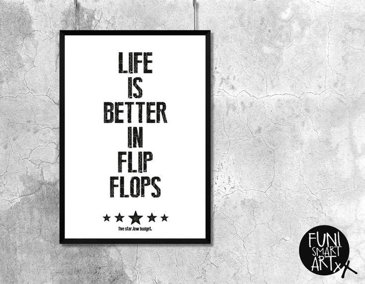"Poster ""FLIP FLOPS"" A3 // typo poster by FUNI SMART ART via DaWanda.com"