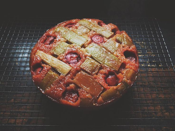 Rhubarb + Plum Upside-Down Cake featured on https://www.instagram.com/hellolunchlady/ Lunch Lady Magazine available at http://shop.hellolunchlady.com.au/