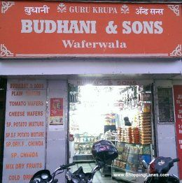 Budhani Wafers. Most popular store on the street for buying wafers and snacks items.