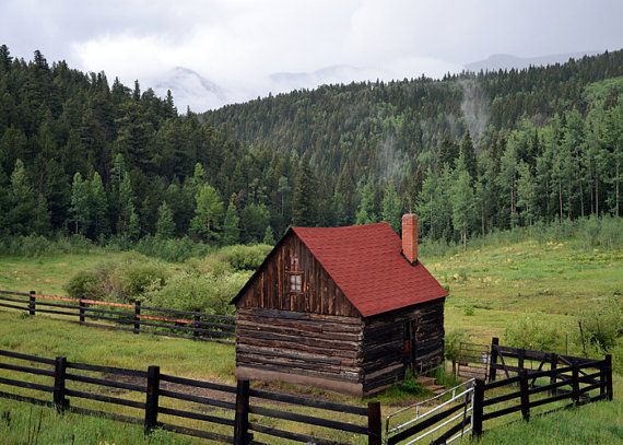 Old Wood Cabin Colorado Landscape Photograph Print 5x7