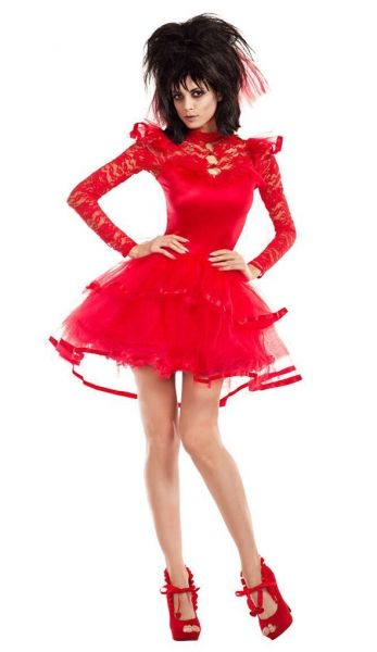 Adult size Beetlejuice Bride Costume - Beetlejuise Lydia Red Wedding Dress - 3 sizes  The Beetle Bride Costume includes a red bridal dress that buttons at the back of the neck with long lacy sleeves, a ruffled tulle belle shaped bottom and separate red brides veil with comb and ribbon for the big reveal.  It does have a small built in petticoat, but if you want it to be as full as in the picture you may want to purchase a separate petticoat.  Sexy Bride of Frankenstein or Vampire Bride from…