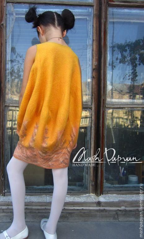 """Купить Валяное платье, детское """" Тыква для принцессы """" - желтый, однотонный, валяное платье"""