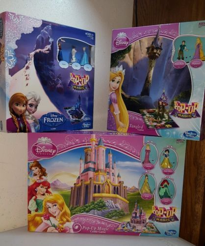 3 Disney POP-UP Magic Board Games Lot - Princesses, Frozen,Tangled BRAND NEW!!!! #Hasbro #EndingSoon #FreeShipping #Disney