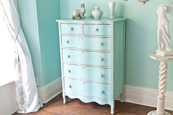 antique dresser aqua blue shabby chic beach cottage coastal light turquoise distressed vintage