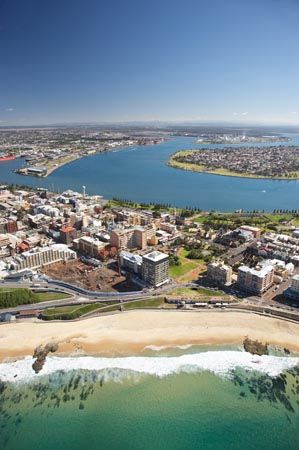 Newcastle Beach, Newcastle, and Newcastle Harbour, New South Wales, Australia - aerial