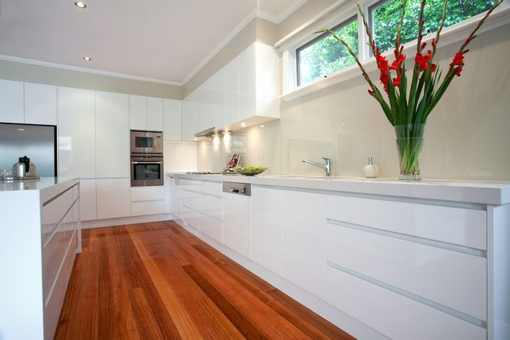 White with wood floor