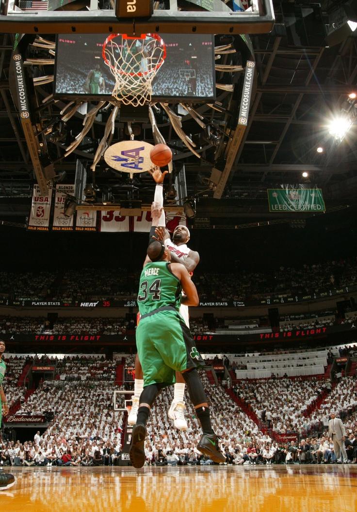 LeBron James (Miami Heat) dropping a jump-hook over rival Paul Pierce (Boston Celtics)
