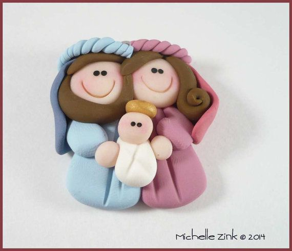 Polymer Clay Nativity Pendant Charm di michellesclaybeads su Etsy