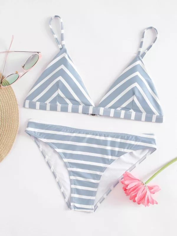 Shein Striped Triangle Bikini Set