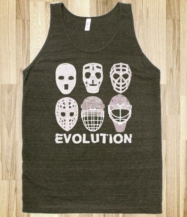#Hockey Goalie Mask Evolution Tee / Tank, available in a variety of different styles of tee shirts, and hoodies.
