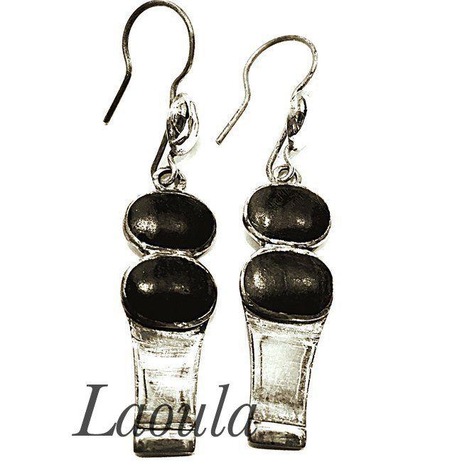 Boucles d'oreilles Touareg argent et ébène, bijoux pas chers