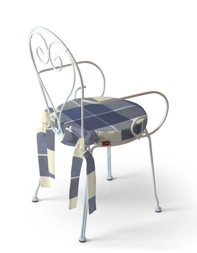 Siedzisko Patryk na krzesło, jeansowo-granatowa krata, fi 41x5cm - Dekoria
