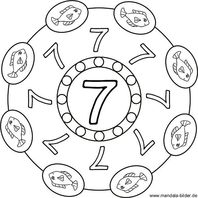 Zahlenbild Kinder Mandala Mit Der Zahl Sieben Mandala Ausmalen