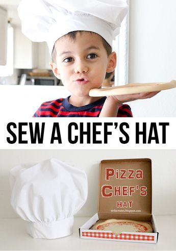 "Sew a chef's hat tutorial--Cool! My kids are big fans of ""Ratatouille""...I think they would get a kick out of having their own chef's hats."