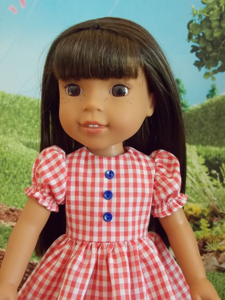 Red, white and blue gingham dress for Wellie Wishers dolls by mothergoosedolls on Etsy