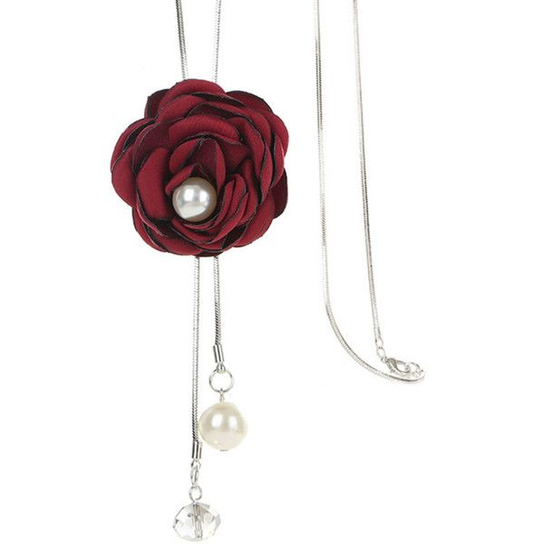Red Rose Pearl Long Necklace ($12) ❤ liked on Polyvore featuring jewelry, necklaces, rose necklace, red jewelry, red jewellery, white pearl necklace and rose jewelry