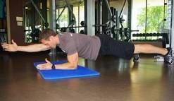 Instead of a crunch, try any version of the plank. The superman plank is a great exercise, as it strengthens many layers of the abdominal wall.