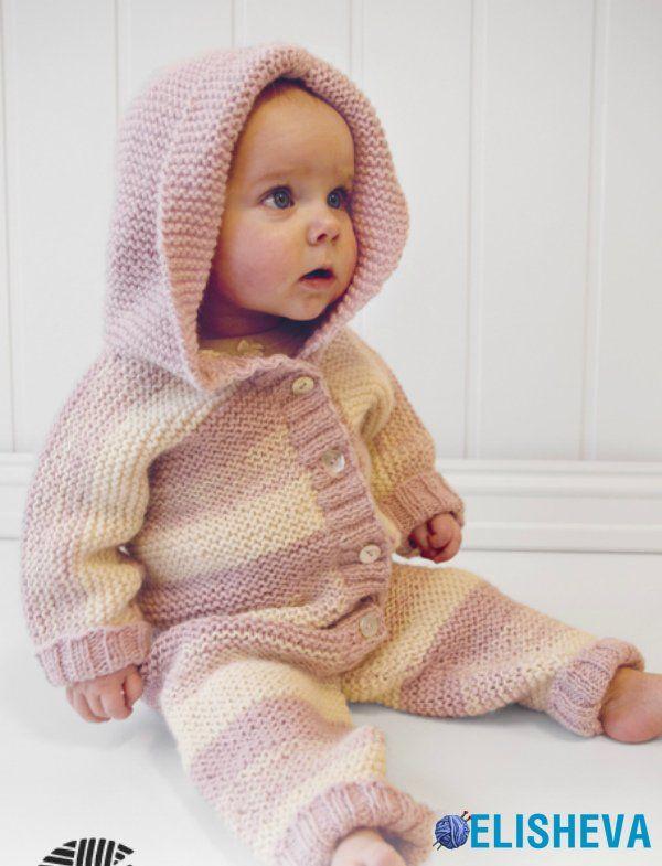 Комбинезон для малыша от Drops Design, вязаный спицами | Блог elisheva.ru