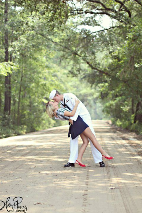 """Reminds me of that old photograph """"The Kiss"""" even though the pose is slightly different. This could also be a cute idea for army or air force - finding a vintage uniform for the groom/male and then doing a pin-up vintagey look on the bride/female...  http://timothy-denehy.artistwebsites.com/"""