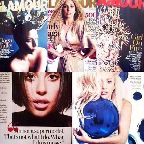 "Lady Gaga covers ""GLAMOUR"" magazine, December issue."