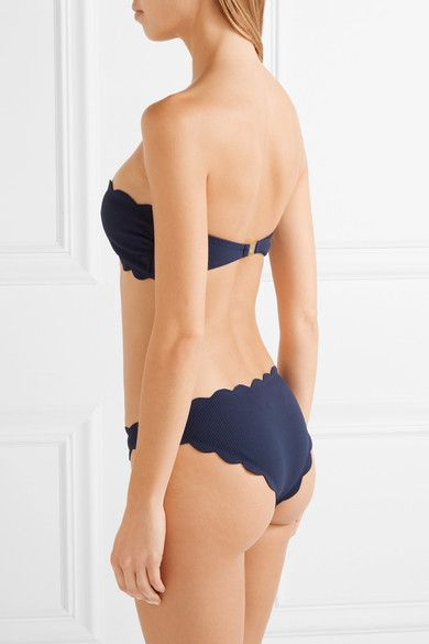 Marysia - Antibes Scalloped Bandeau Bikini Top - Navy - medium