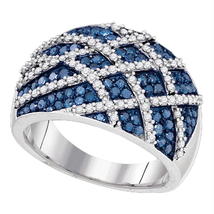 10kt White Gold Women's Round Blue Color Enhanced Diamond Cocktail Lattice Ring 1-1/3 Cttw - FREE Shipping in North America