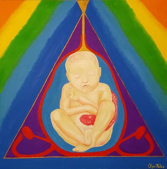 """""""First home"""". 60#60 Oil, Canvas #oiloncanvas #baby #firsthome #life #newlife #new #positivism #art #positivismart #rainbow #colors #philosophy #womb #special #modern #contemporaryart"""