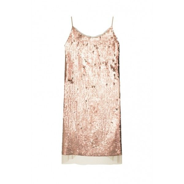 NUDE SEQUIN SLIP DRESS - Clothing from Elvi UK ❤ liked on Polyvore featuring dresses, sequin embellished dress, elvi, pink sequin dresses, pink slip dress and sequin dress