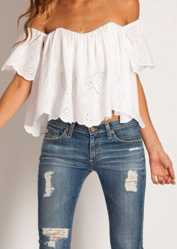 off the shoulder top 9- I want one in teal and another in mint-green.