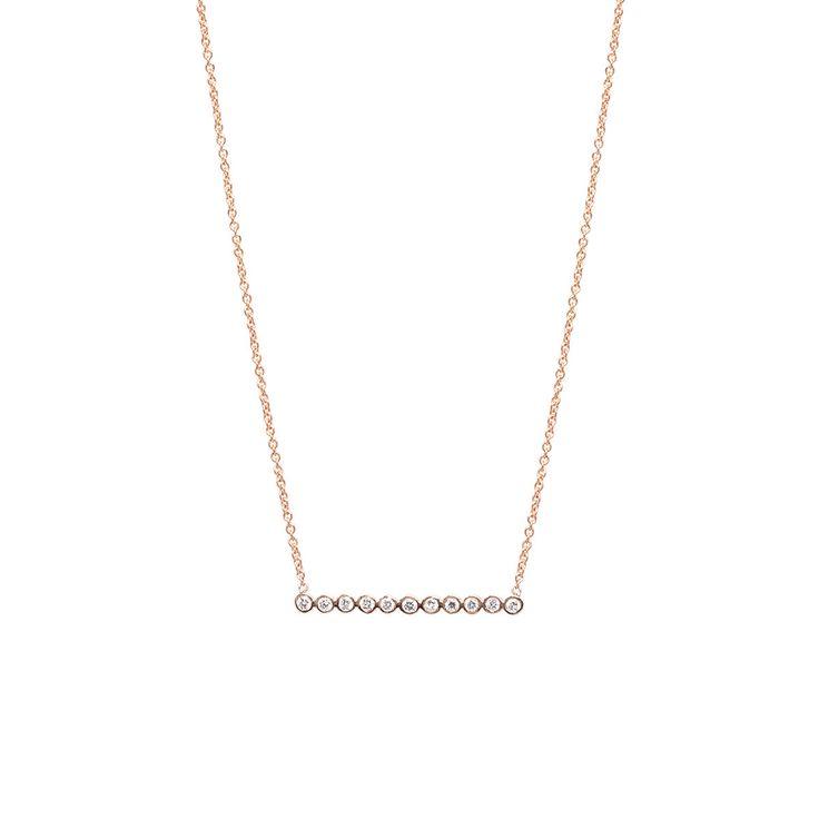 14k tiny diamond bezel bar necklace