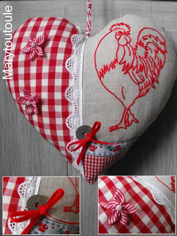 Red rooster redwork and and a staple fabric...red gingham.