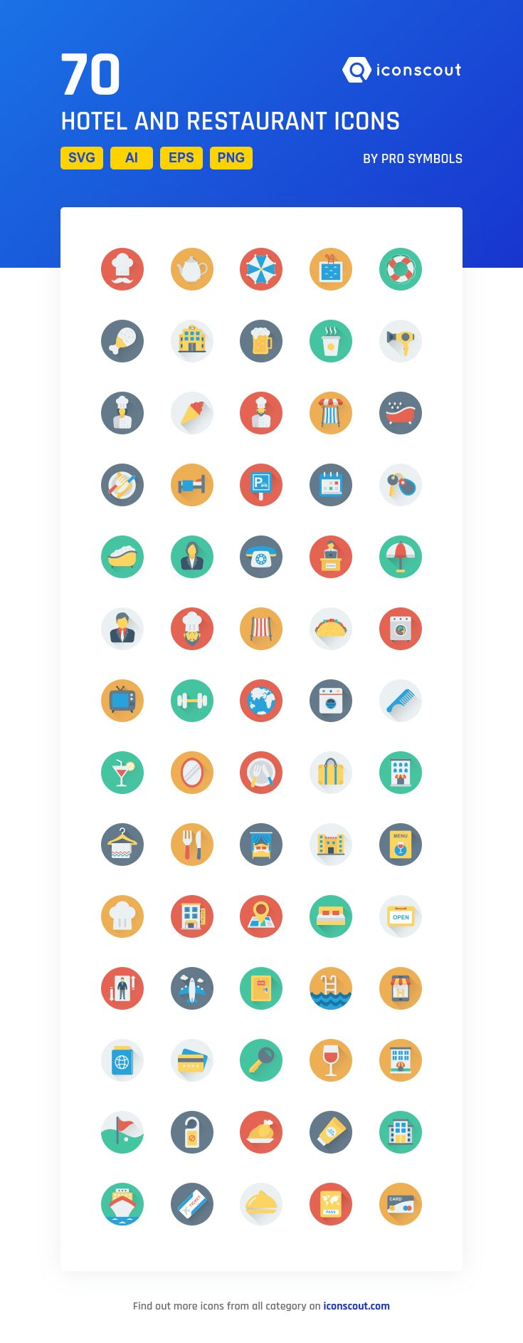 Hotel And Restaurant  Icon Pack - 70 Flat Icons