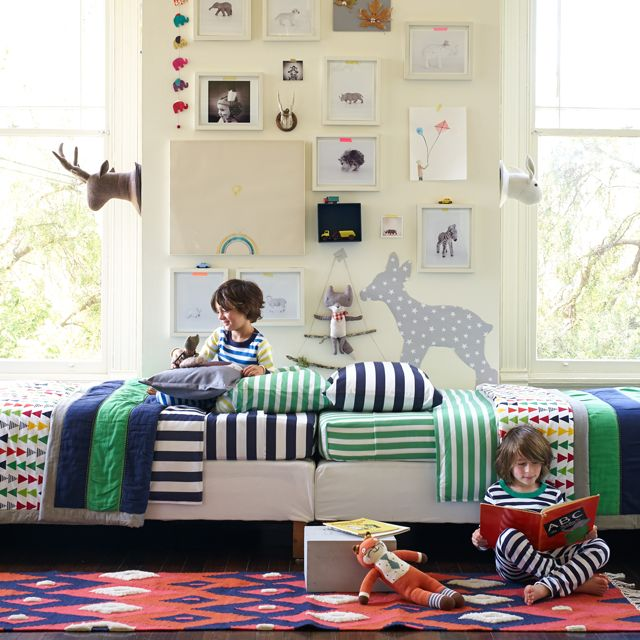 Fun, whimsical shared big boy room from Hanna Home Collection