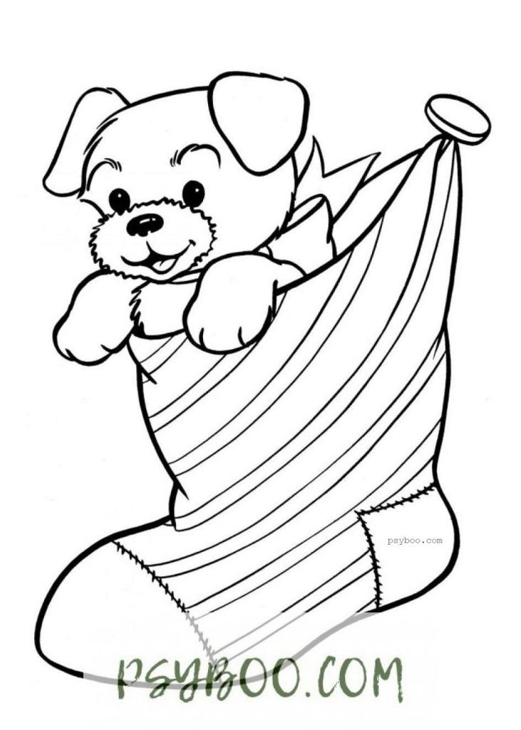 Charming Puppy In Christmas Sock Coloring Page Puppy Coloring Pages Christmas Coloring Pages Printable Christmas Coloring Pages