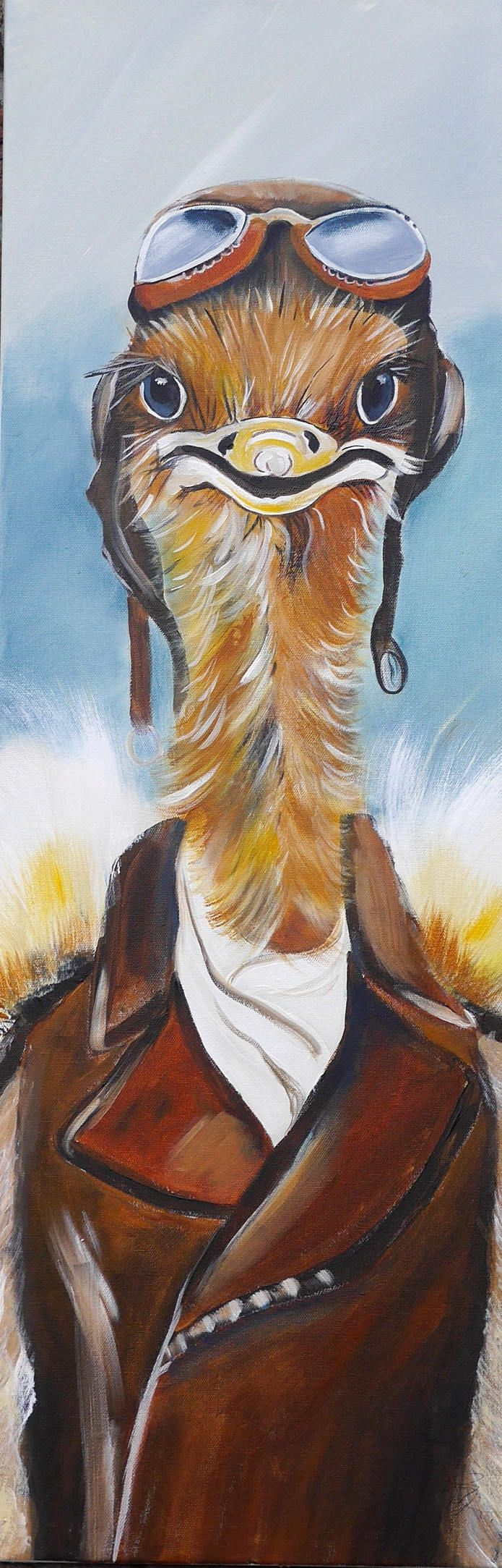 Medium acrylic painting,ostrich,pilot,Braun,blau,Straussenvogel,Vogel,lustig,sunglasses,Brille,Bruchpilot by Beate Frieling by ColorbyBeate on Etsy