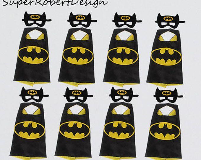 Fiesta Pack 10 niños batman capa, capas de batman y máscaras, centro de mesa de Batman, superhéroe partido, partido de Batman, fiesta de cumpleaños de Batman