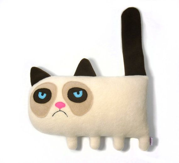 Cat of the Day:  Grumpy Cat handmade plush animal by alelale on Etsy, $28.00