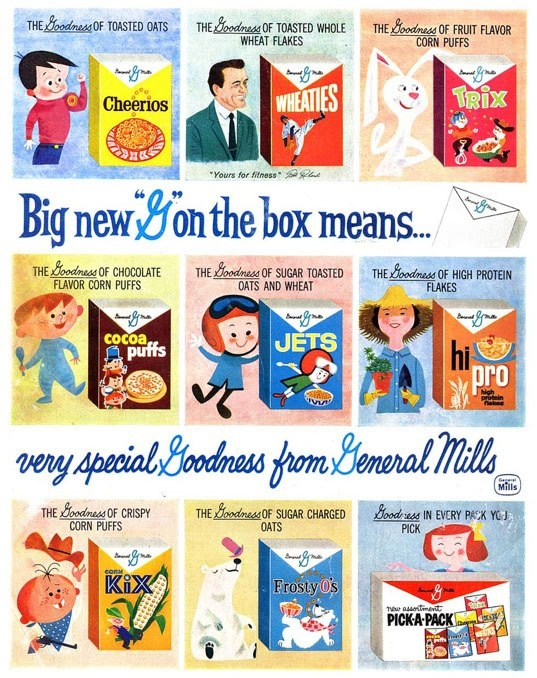 Vintage package design and brand mascots from General Mills