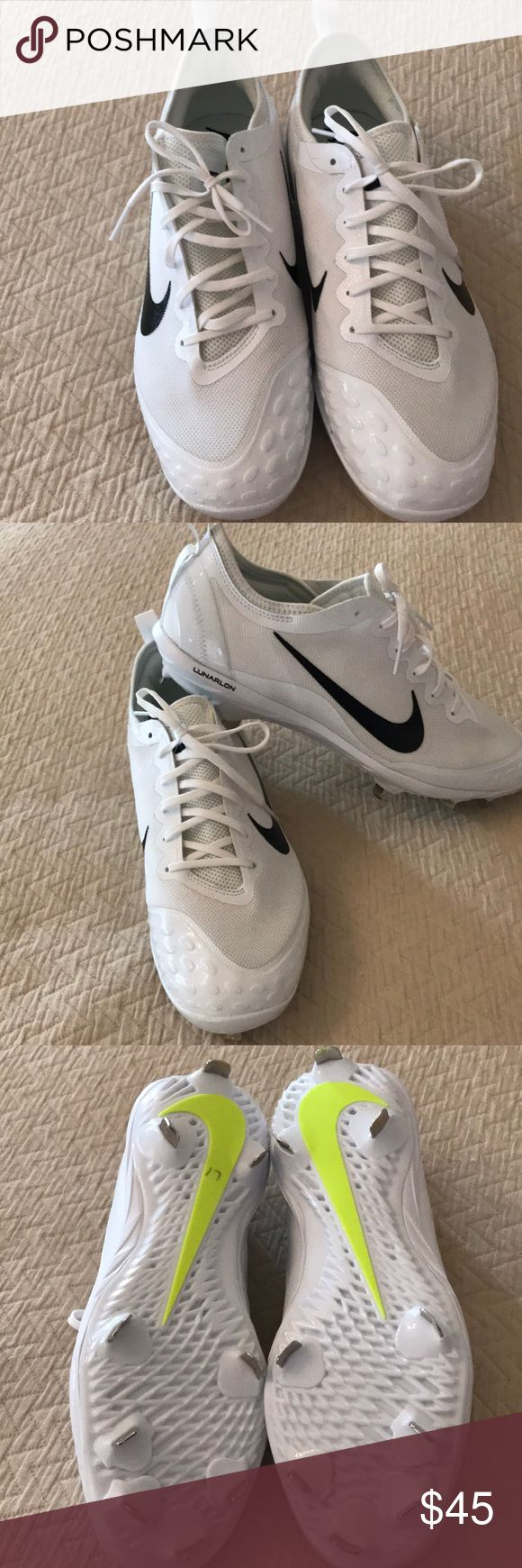 Nike women's metal cleats size 12 Nike women's metal spike cleats size 12. White with black nike swoosh and bright yellow doe detail. NWOT. Nike hyperdiamond  lunarlon model. Make an offer!! nike hyperdiamond Shoes Athletic Shoes