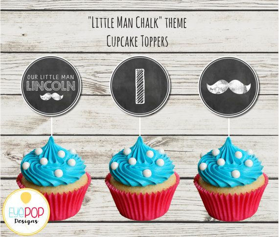 LITTLE MAN CHALKBOARD CUPCAKE TOPPERS  The perfect matching decor for an…