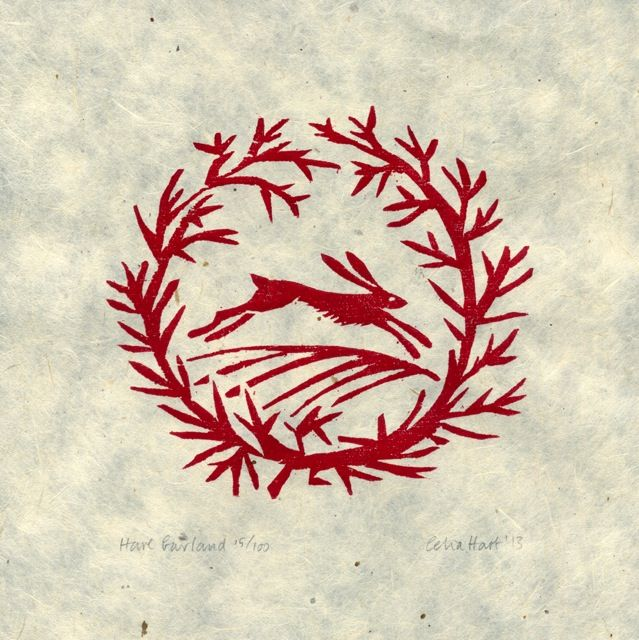 'Hare Garland' woodcut - Celia Hart
