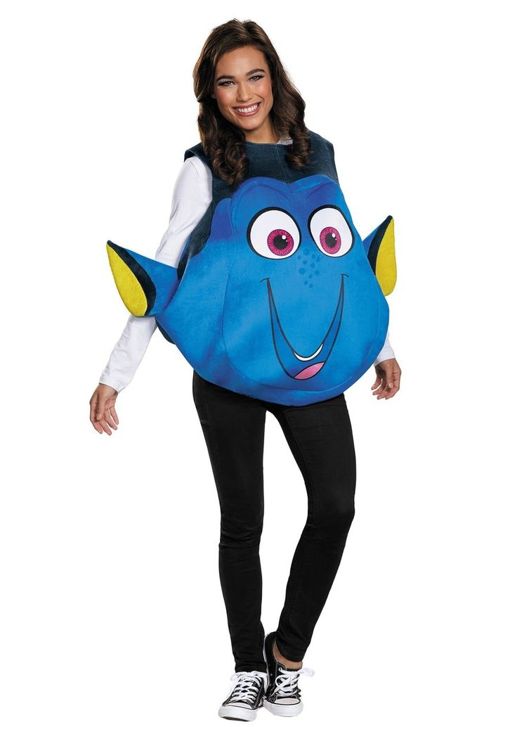 Fans of Dory from Finding Nemo fame and Finding Dory fame will love this officially-licensed Finding Dory Fish Costume.  Now you can swim around under the sea of your hometown when you wear this cute, DIY Finding Dory Halloween costume.    Dory might be even more beloved than Nemo himself, that loveable scamp, and this Finding Dory costume is comfortable, fun, and perfect for Halloween if you're looking for a costume that's easy-to-wear, and quick to take off.