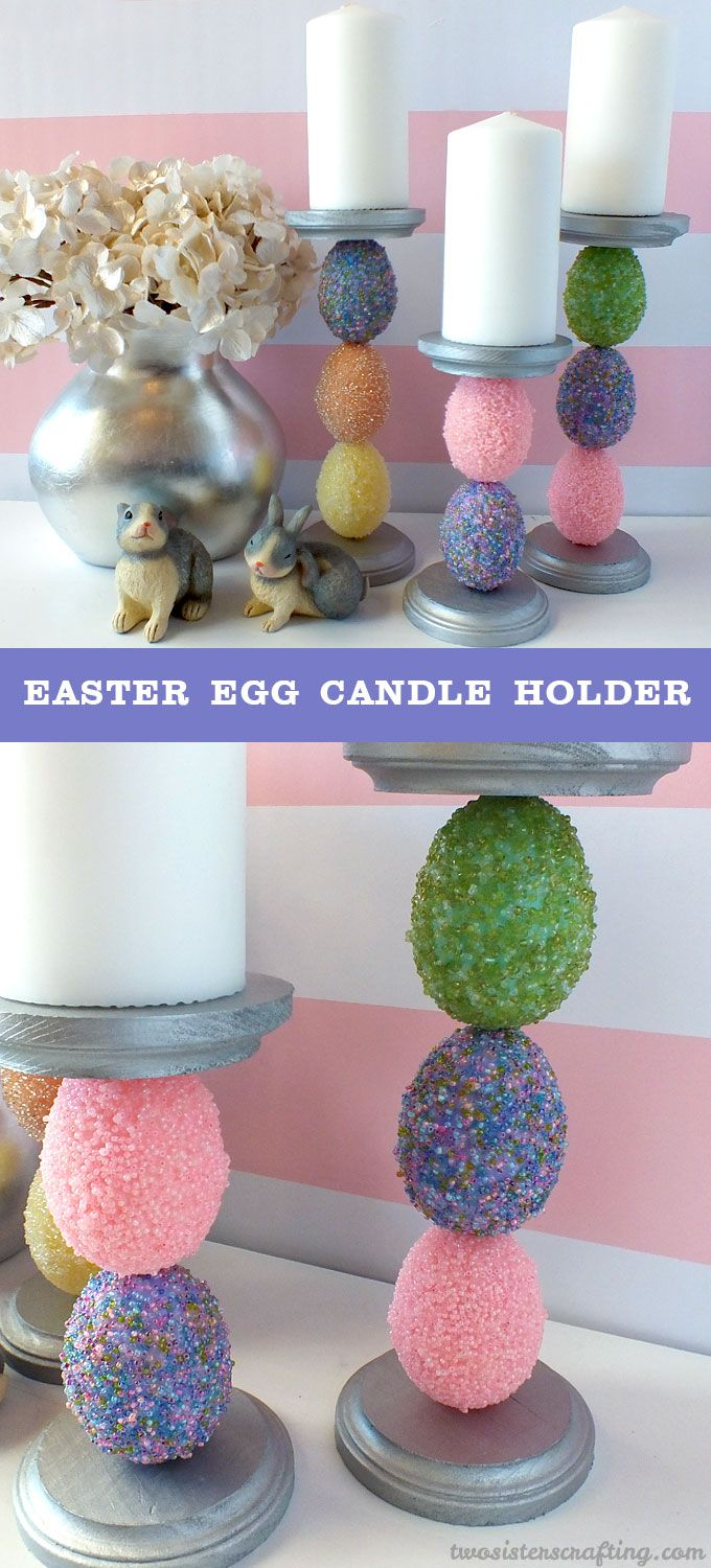 Use embellished plastic Easter Eggs to make this beautiful Easter Egg Candle Holder. We have step by step instructions for making this pretty Easter Decoration.  For more fun Easter Craft Ideas follow us at https://www.pinterest.com/2SistersCraft/