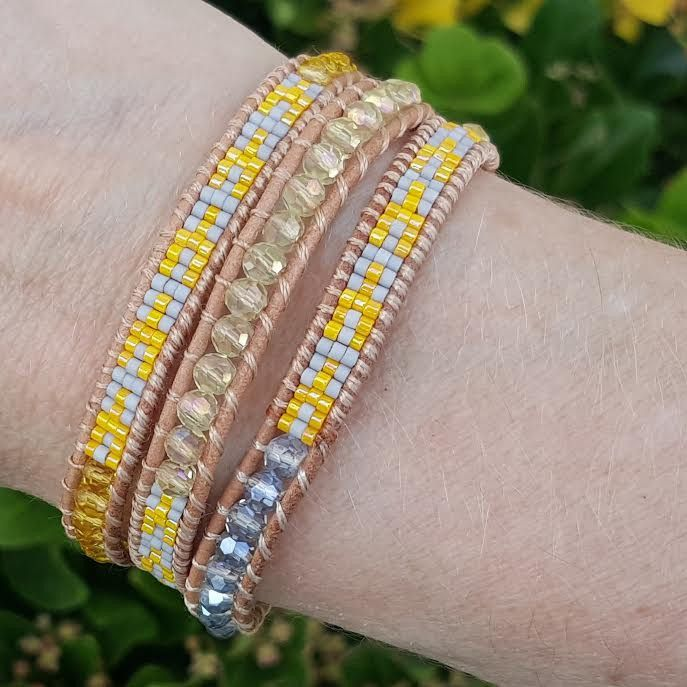 Yellow and Blue Crystals with Miyuki Glass Seed Beads on Natural Leather