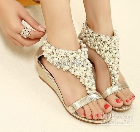 2013 rome shiny beaded wedge sandals low heeled wedding shoes item 982268