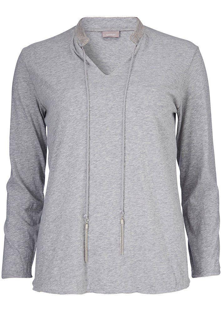 Bluse grå 22716 A-shape with tassels - 9315 steel grey